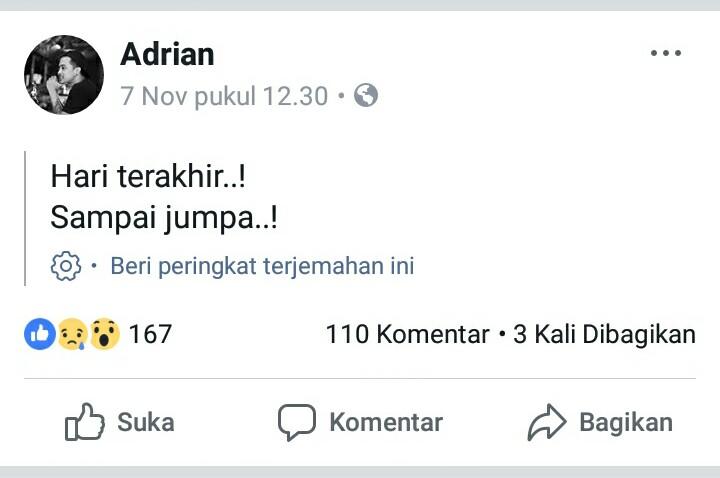 Postingan di akun milik Adrian tanggal 7 November 2017.
