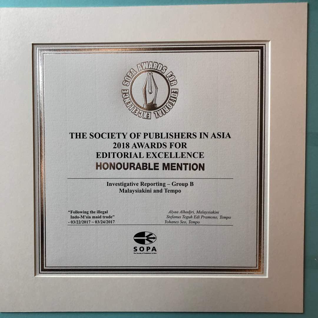 SOPA Award yang diterima Jhon Seo. (IST)