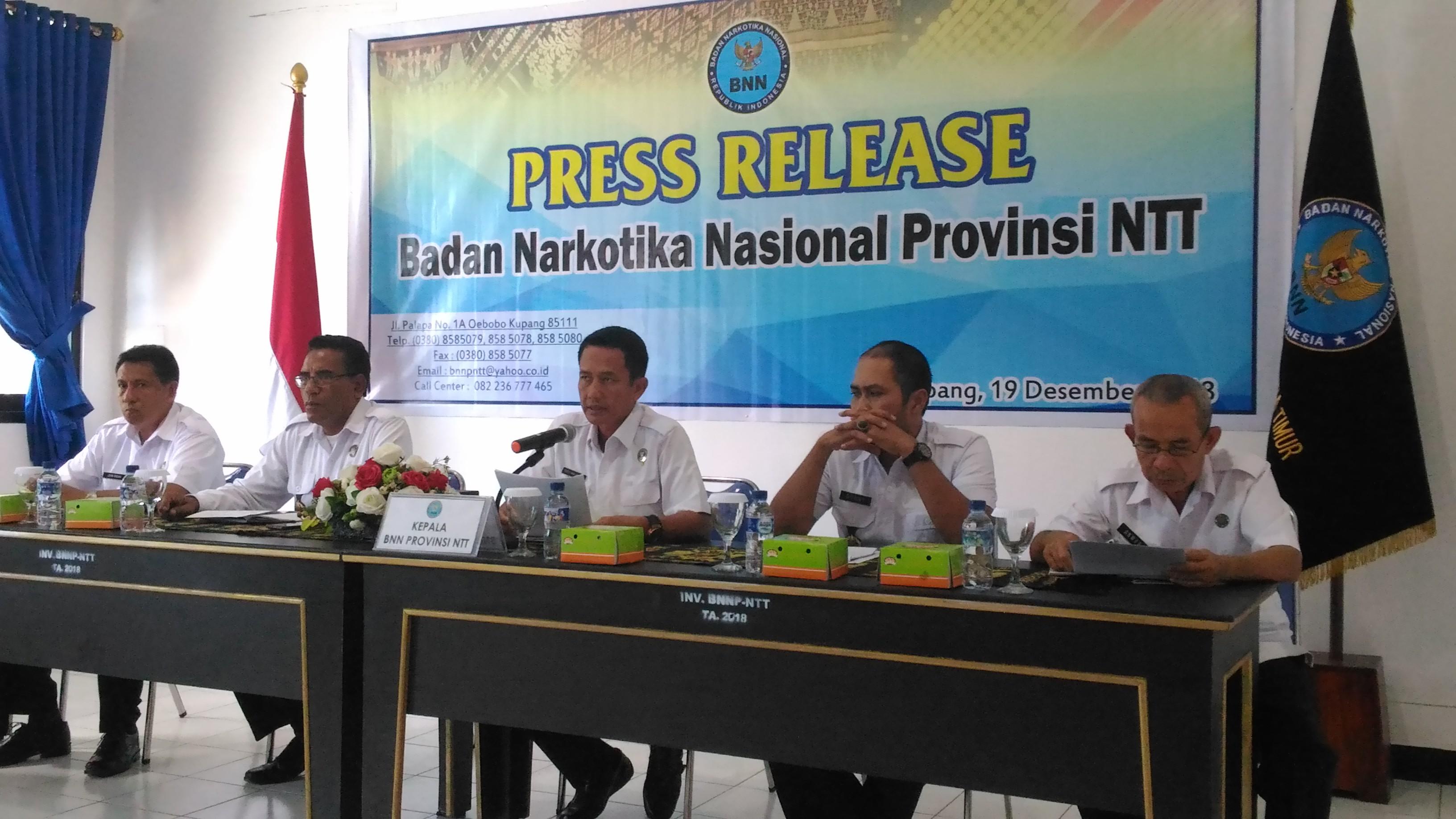 Tahun 2018, BNN NTT  Ungkap Tujuh Kasus Peredaran Gelap Narkotika