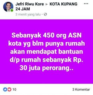 Lewat Medsos, Wali Kota Kupang janjikan DP Rumah untuk ASN