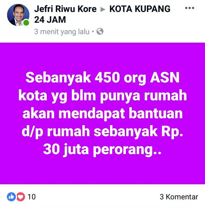 Postingan Wali Kota Kupang di akun medsosnya. (Ist)