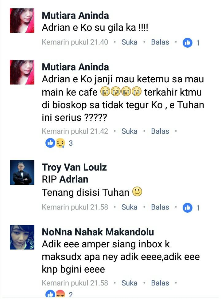 Komentar teman dan kerabat Adrian pada postingan di akun facebook.