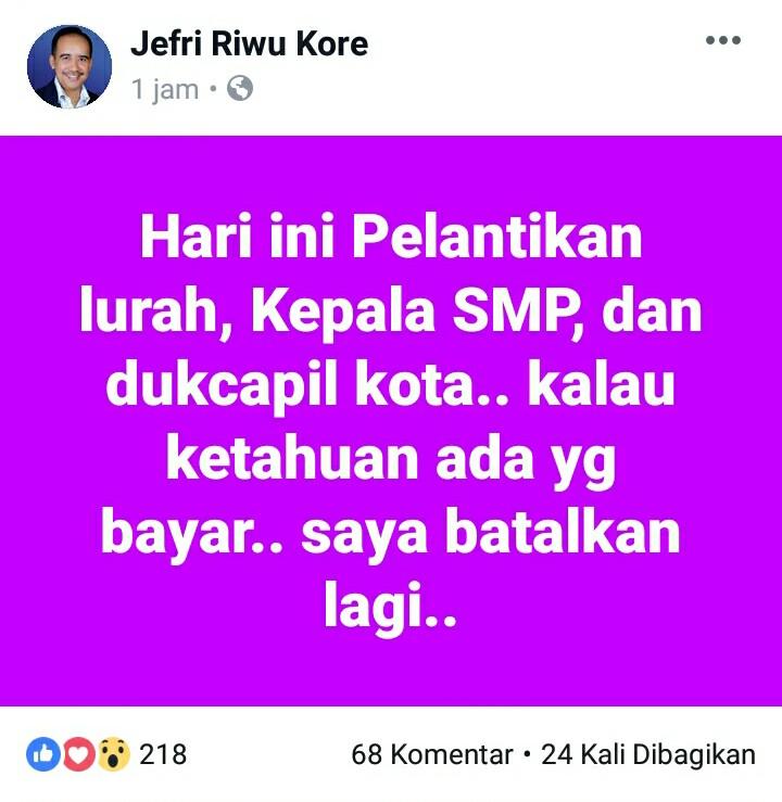 Postingan Wali Kota Kupang di medsos. (Ist)