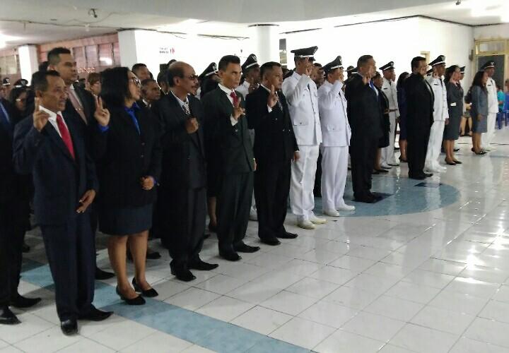 Suasana mutasi pejabat eselon III dan IV lingkup pemkot Kupang. (Ist)