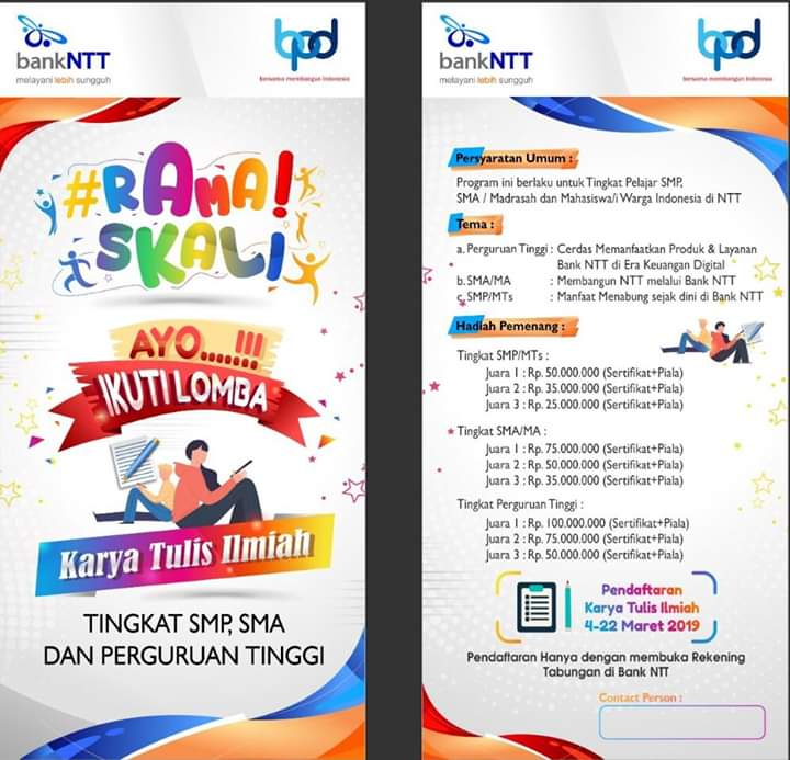 Bank NTT Gelar Lomba Karya Tulis dan Video Edukatif
